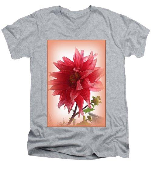 A Vision In  Coral - Dahlia Men's V-Neck T-Shirt