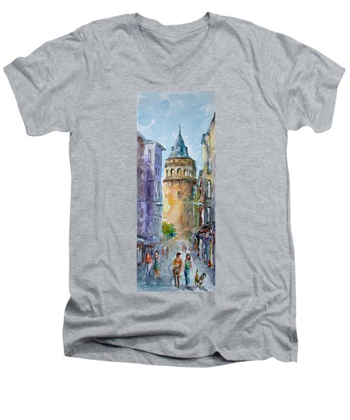 Men's V-Neck T-Shirt featuring the painting A Walk Around Galata Tower - Istanbul by Faruk Koksal