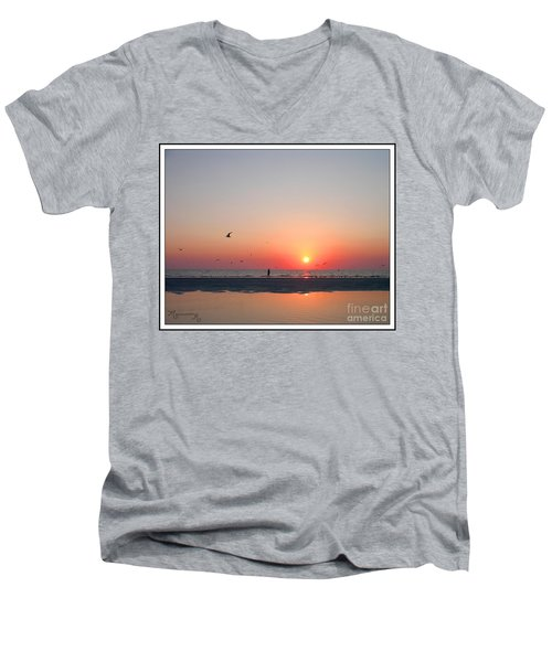 Men's V-Neck T-Shirt featuring the photograph A Walk At Sunset by Mariarosa Rockefeller