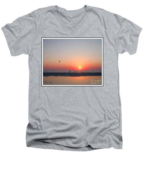 A Walk At Sunset Men's V-Neck T-Shirt by Mariarosa Rockefeller