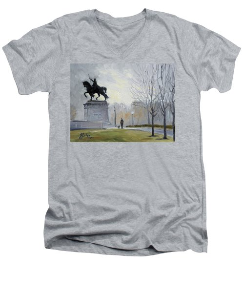 A Walk In Forest Park In St.louis Men's V-Neck T-Shirt