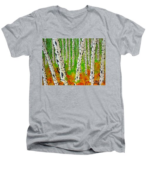 A Walk Though The Trees Men's V-Neck T-Shirt by Jackie Carpenter
