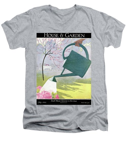 A Watering Can Above Pink Roses Men's V-Neck T-Shirt