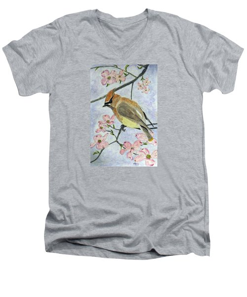 A Waxwing In The Dogwood Men's V-Neck T-Shirt
