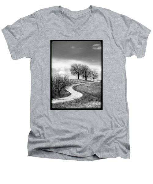 A Winding Country Road In Black And White Men's V-Neck T-Shirt