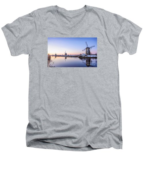 A Cold Winter Morning With Some Windmills In The Netherlands Men's V-Neck T-Shirt by IPics Photography