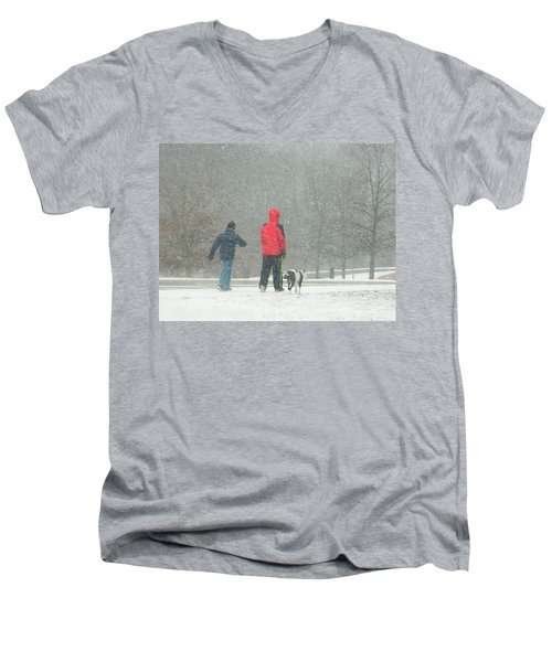 Men's V-Neck T-Shirt featuring the photograph A Winter Walk In The Park - Silver Spring Md by Emmy Marie Vickers