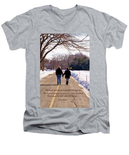 A Winter Walk/inspirational Men's V-Neck T-Shirt