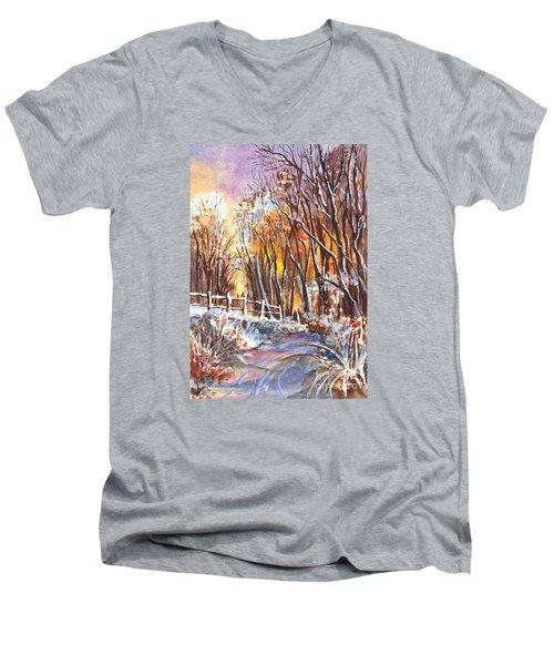A Firey Winter Sunset Men's V-Neck T-Shirt