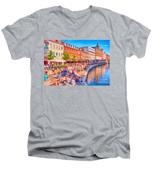 Aarhus Canal Digital Painting Men's V-Neck T-Shirt
