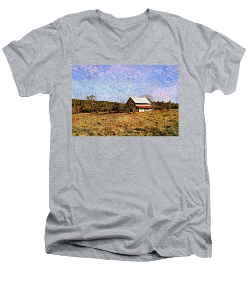 Men's V-Neck T-Shirt featuring the photograph Abandoned Barn In North Georgia by Vizual Studio