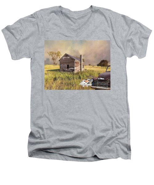 Men's V-Neck T-Shirt featuring the photograph Abandoned by Liane Wright