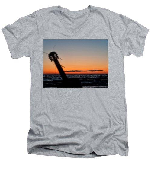 Acoustic Guitar On The Beach Men's V-Neck T-Shirt
