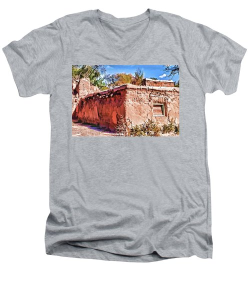 Men's V-Neck T-Shirt featuring the painting Abandoned by Muhie Kanawati