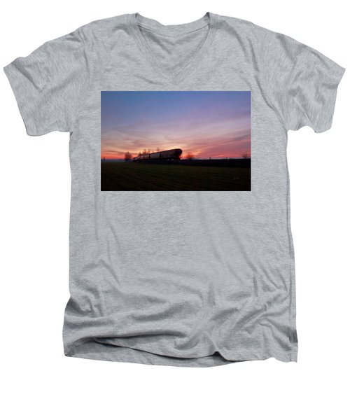 Men's V-Neck T-Shirt featuring the photograph Abandoned Train  by Eti Reid