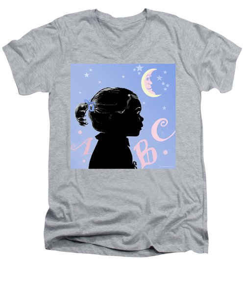 Men's V-Neck T-Shirt featuring the painting Abc - The Moon And Me by Carol Jacobs
