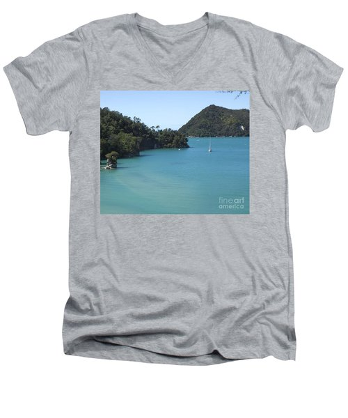 Abel Tasman Bay With Sail Boat Men's V-Neck T-Shirt by Loriannah Hespe