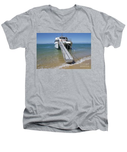 Abel Tasman Water Taxi Men's V-Neck T-Shirt by Loriannah Hespe