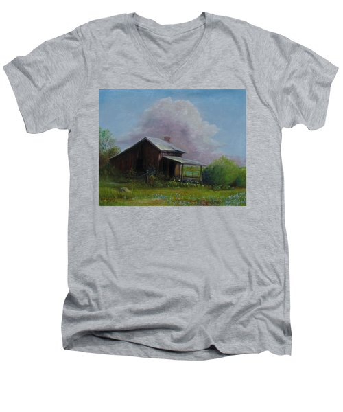 Men's V-Neck T-Shirt featuring the painting Abondoned Memories  by Gene Gregory