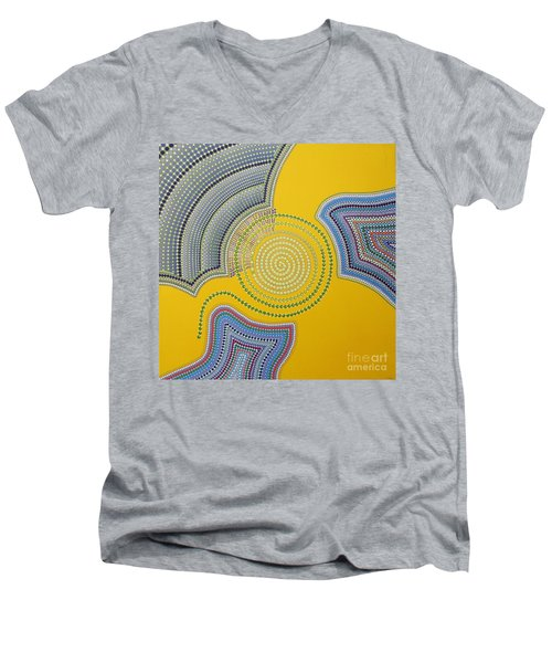 Men's V-Neck T-Shirt featuring the painting Aboriginal Inspirations 35 by Mariusz Czajkowski