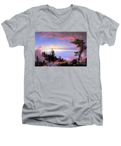 Above The Clouds At Sunrise By Frederick Edwin Church Men's V-Neck T-Shirt