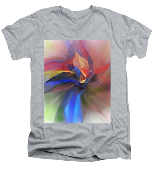 Men's V-Neck T-Shirt featuring the digital art Abstract 121214 by David Lane