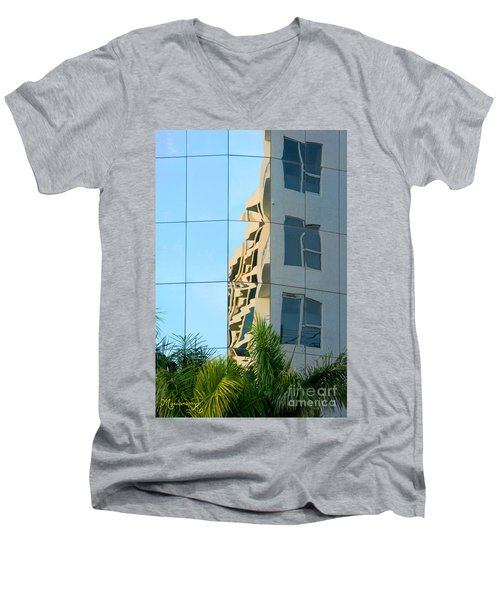 Men's V-Neck T-Shirt featuring the photograph Abstract Architectural Shapes by Mariarosa Rockefeller