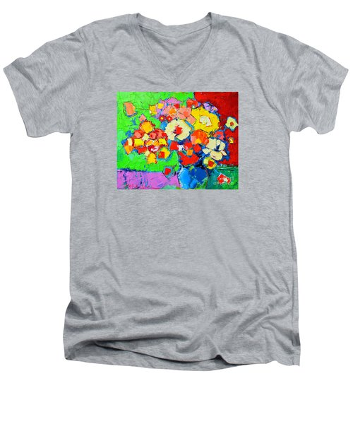 Abstract Colorful Flowers Men's V-Neck T-Shirt by Ana Maria Edulescu