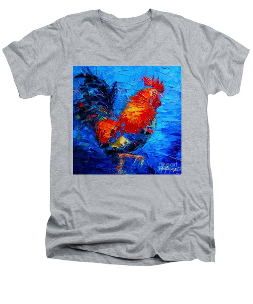 Abstract Colorful Gallic Rooster Men's V-Neck T-Shirt