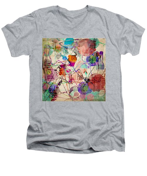 Men's V-Neck T-Shirt featuring the digital art Abstract Expressionism by Phil Perkins