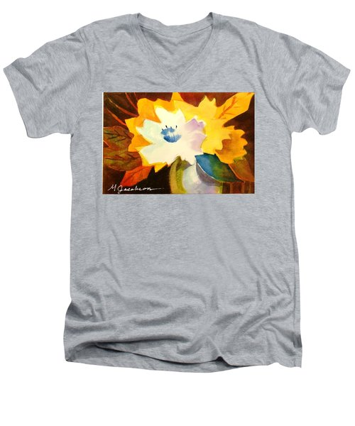 Men's V-Neck T-Shirt featuring the painting Abstract Flowers 2 by Marilyn Jacobson