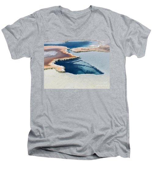 Abstract From The Land Of Geysers. Yellowstone Men's V-Neck T-Shirt by Ausra Huntington nee Paulauskaite