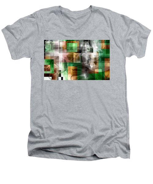 Men's V-Neck T-Shirt featuring the painting Abstract In Green by Curtiss Shaffer