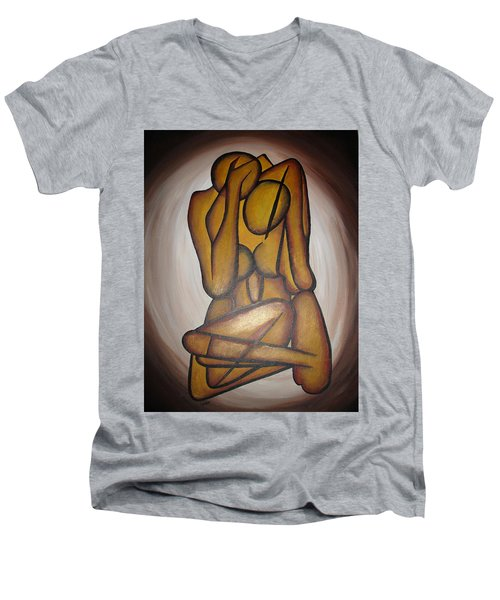 Men's V-Neck T-Shirt featuring the painting Abstract Lovers by Tracey Harrington-Simpson