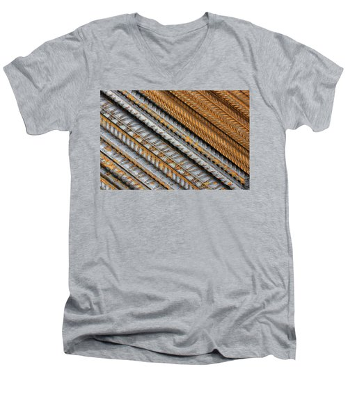 Abstract Metal Texture Pattern Men's V-Neck T-Shirt