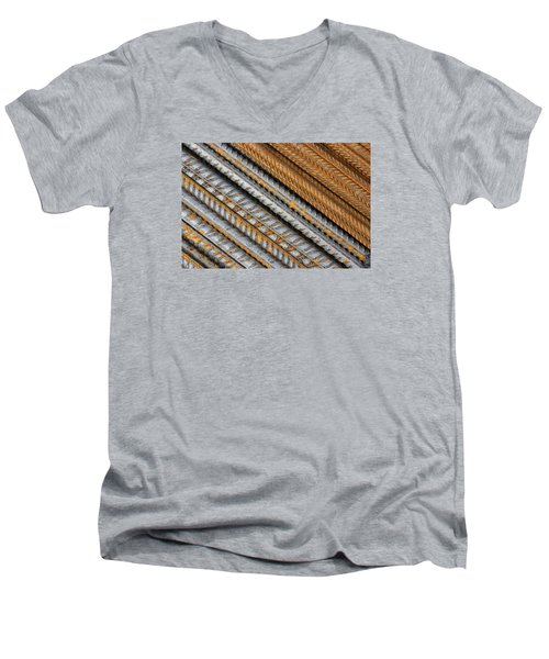 Abstract Metal Texture Pattern Men's V-Neck T-Shirt
