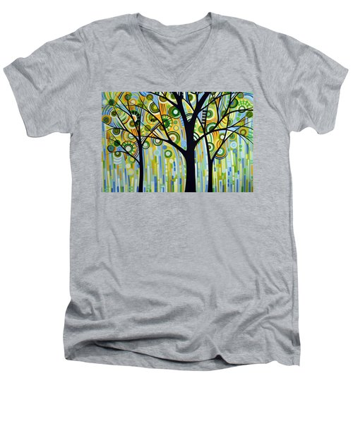 Men's V-Neck T-Shirt featuring the painting Abstract Modern Tree Landscape Spring Rain By Amy Giacomelli by Amy Giacomelli