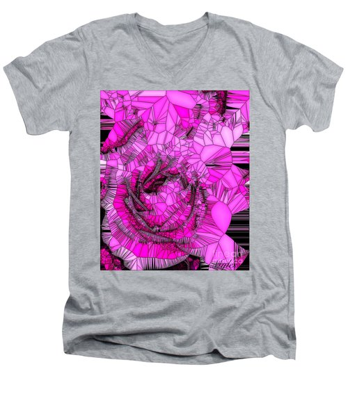 Abstract Pink Rose Mosaic Men's V-Neck T-Shirt