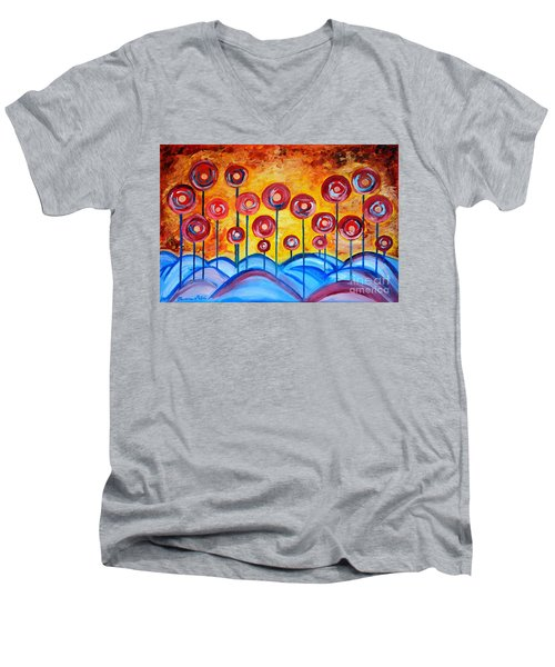 Abstract Red Symphony Men's V-Neck T-Shirt by Ramona Matei