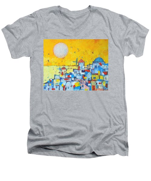 Abstract Santorini - Oia Before Sunset Men's V-Neck T-Shirt by Ana Maria Edulescu