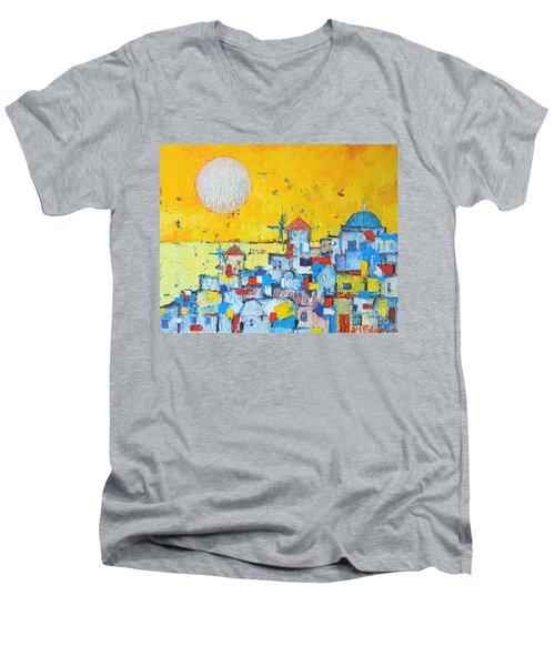 Abstract Santorini - Oia Before Sunset Men's V-Neck T-Shirt