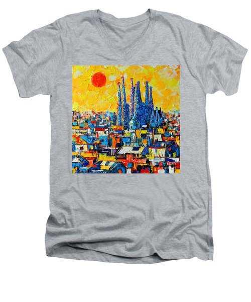 Abstract Sunset Over Sagrada Familia In Barcelona Men's V-Neck T-Shirt by Ana Maria Edulescu