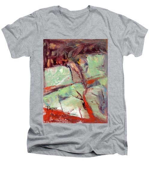 Abstract With Cadmium Red Men's V-Neck T-Shirt by Betty Pieper