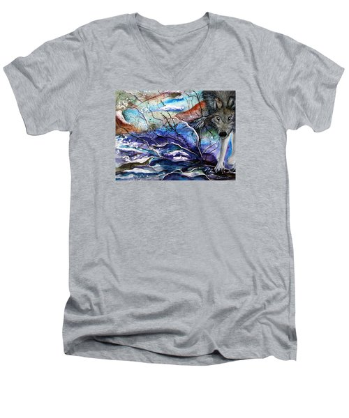 Abstract Wolf Men's V-Neck T-Shirt by Lil Taylor