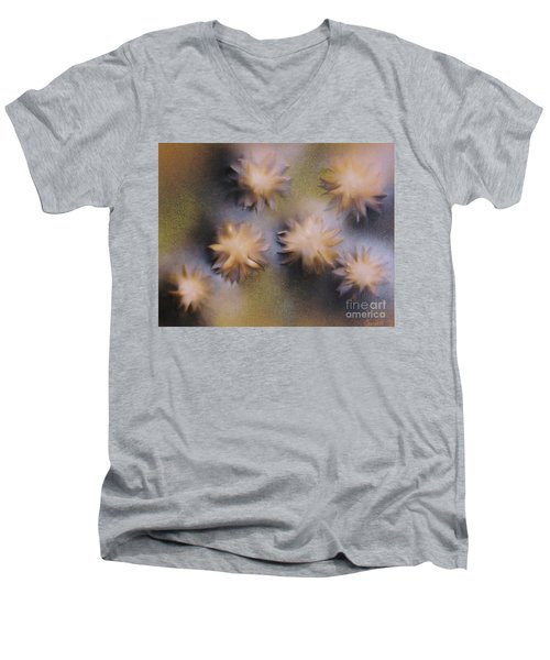 Abstract Yellow Flowers Men's V-Neck T-Shirt