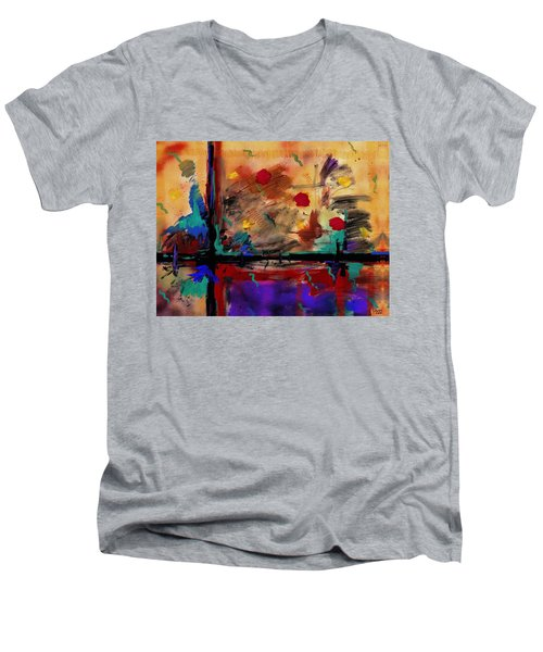 Abstract Yellow Horizontal Men's V-Neck T-Shirt
