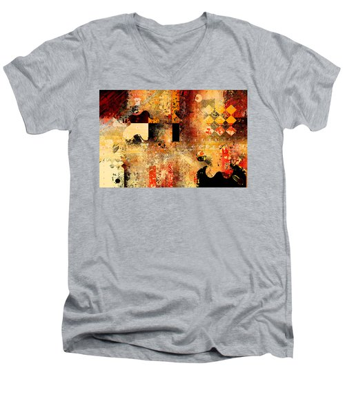 Abstracture - 103106046f Men's V-Neck T-Shirt by Variance Collections