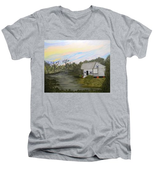 Acadian Home On The Bayou Men's V-Neck T-Shirt