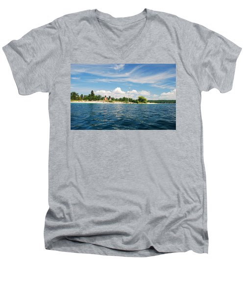 Across The Bay To The Light Men's V-Neck T-Shirt by Janice Adomeit