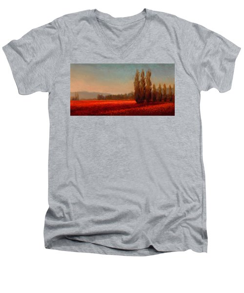 Across The Tulip Field - Horizontal Landscape Men's V-Neck T-Shirt